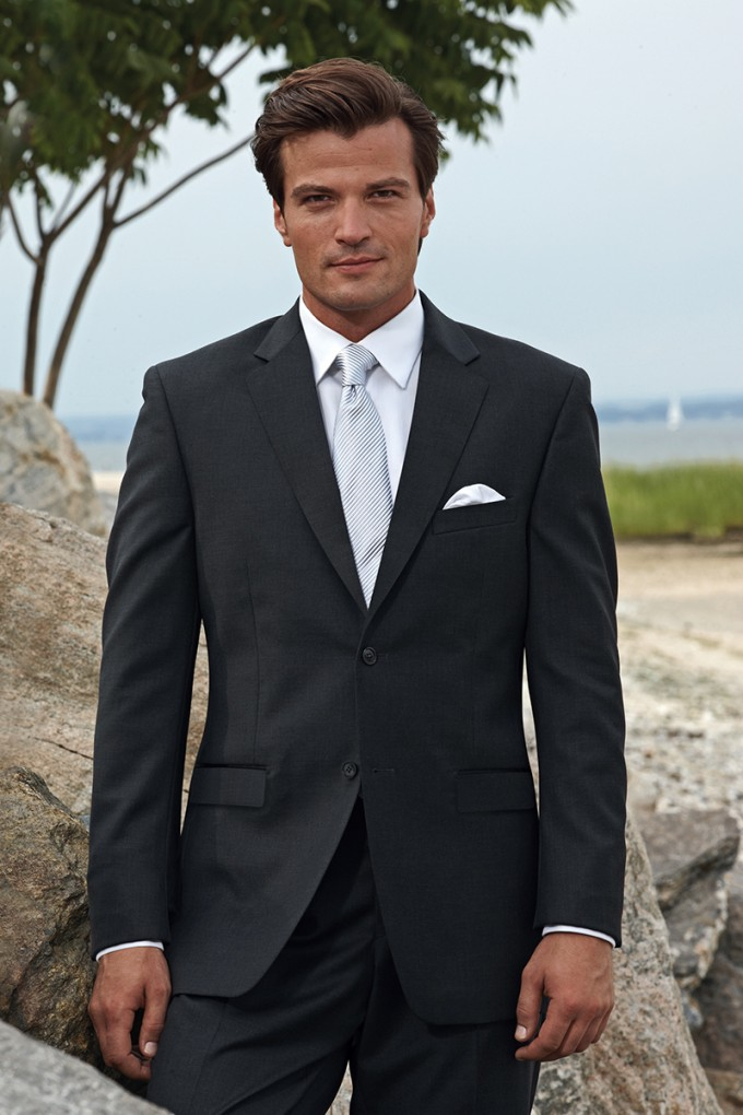 Charcoal Windsor Suit by Perry Ellis