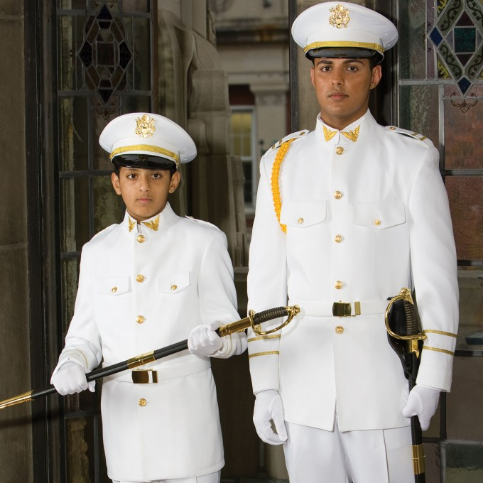 White Cadet Military Uniform by Red Sleeve